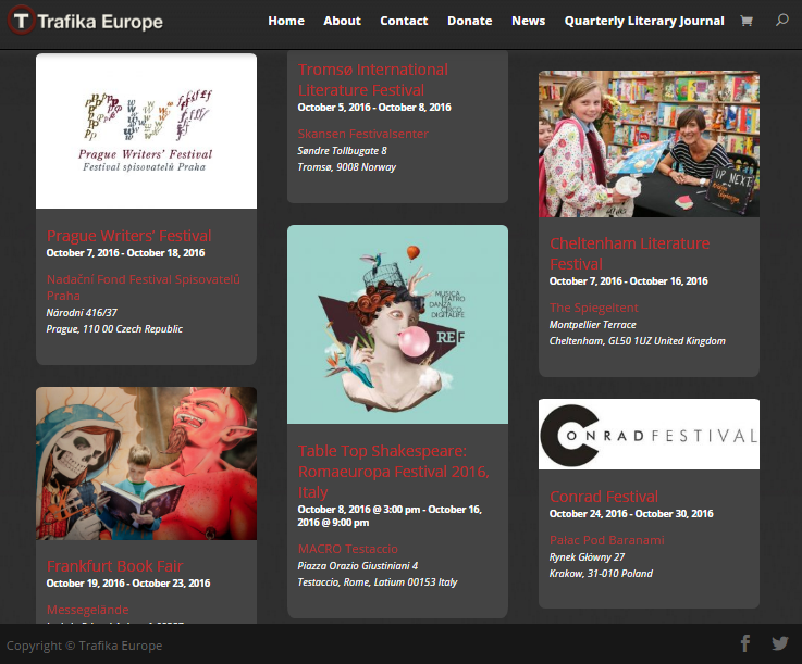 New European literary events calendar